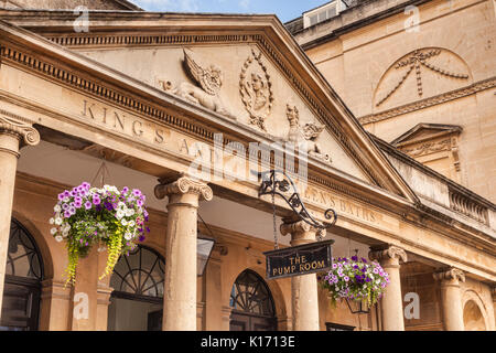 8 July 2017: Bath, Somerset, England, UK - The Pump Room, a detail of the front of the building. - Stock Photo