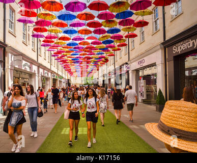 8 July 2017: Bath, Somerset, England, UK - Shopping in the SouthGate shopping centre. Above is the city's installation - Stock Photo