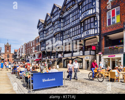 18 July 2017: Chester, Cheshire, England, UK - Half timbered houses in Bridge Street, and Carluccio's restaurant, - Stock Photo