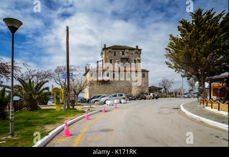 Historic fort in port and city Ouranoupolis , entry site to monasteries of Mount Athos, Chalkidiki, Greece - Stock Photo
