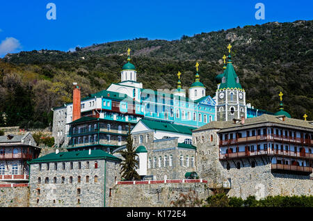 Saint Panteleimon Monastery, Athos Peninsula, Mount Athos, Chalkidiki, Greece - Stock Photo