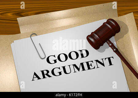 3D illustration of 'GOOD ARGUMENT' title on legal document - Stock Photo