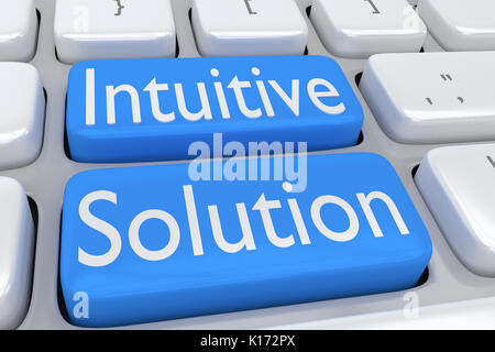 3D illustration of computer keyboard with the script 'Intuitive Solution' on two adjacent pale blue buttons - Stock Photo
