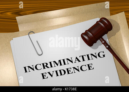 3D illustration of 'INCRIMINATING EVIDENCE' title on legal document - Stock Photo