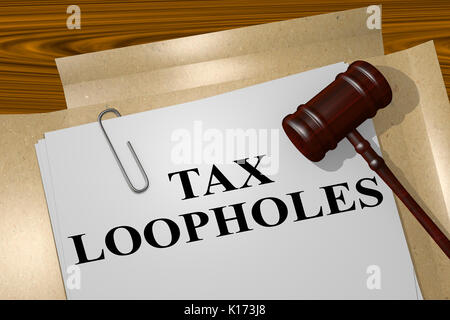 3D illustration of 'TAX LOOPHOLES ' title on legal document - Stock Photo