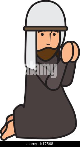 Shepherd of bethlehem praying character - Stock Photo