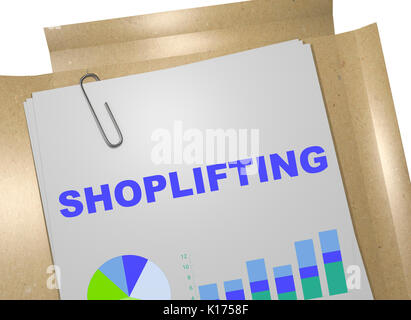 3D illustration of 'SHOPLIFTING' title on business document - Stock Photo