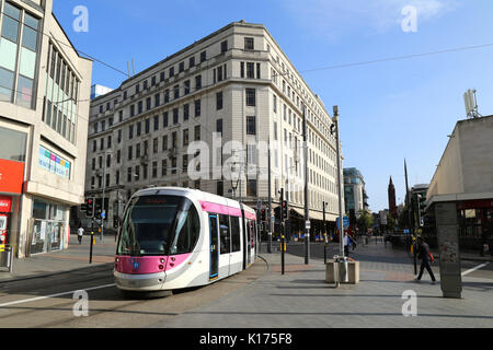 Corporation St, Birmingham city centre UK and a Midland Metro tram service. - Stock Photo