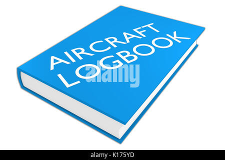 3D illustration of 'AIRCRAFT LOGBOOK' script on a book, isolated on white. Aviation concept. - Stock Photo
