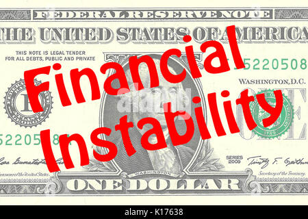 Render illustration of 'Financial Instability' title on One Dollar bill as a background. Business concept - Stock Photo