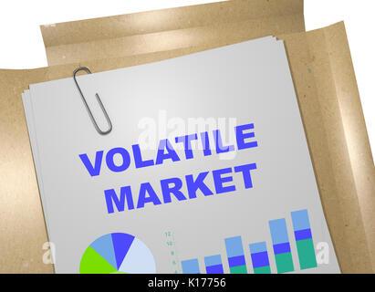 3D illustration of 'VOLATILE MARKET' title on business document. Business concept. - Stock Photo