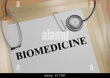 3D illustration of 'BIOMEDICINE' title on medical documents. Medical concept. - Stock Photo