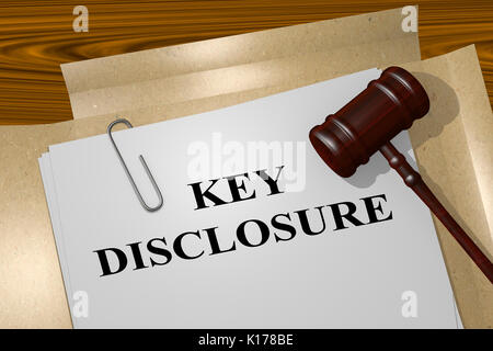 3D illustration of 'KEY DISCLOSURE' title on Legal Documents. Legal concept. - Stock Photo