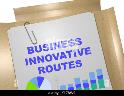 3D illustration of 'BUSINESS INNOVATIVE ROUTES' title on business document. Business concept. - Stock Photo