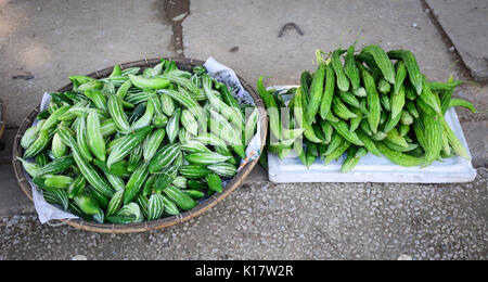 Fresh cucumbers for sale at the local street market. Close up. - Stock Photo