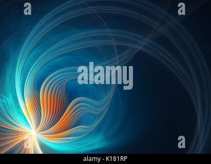 Colorful turbulent fractal with a blue swirl pattern. A digital image is rendered on a computer. Conceptual scientific - Stock Photo