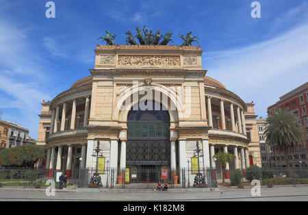 Sicily, in the old town of Palermo, the Teatro Politeama Garibaldi is a theater building in the style of neoclassicism - Stock Photo