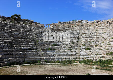 Sicily, the Greek theater in the ancient city of Segesta, province of Trapani - Stock Photo
