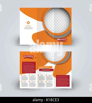 Modern Orange Trifold Brochure Template In Wave Style Stock Vector - Business tri fold brochure templates