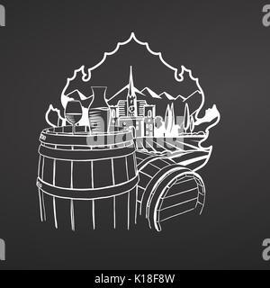 Wine on barrels. Chalk on blackboard. Hand drawn vineyard landscape. Countryside scenery. Black and White. Vintage - Stock Photo