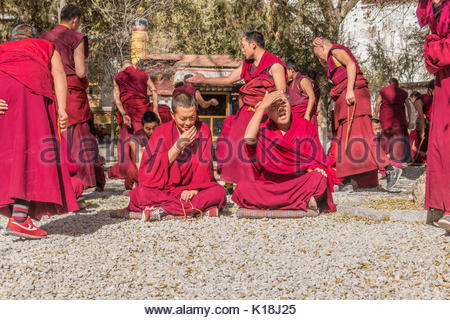 Debating monks at the Sera Monastery in Tibet - Stock Photo