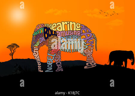 Beautiful elephant made from words on a safari background.
