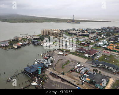 View of the damage and destruction to buildings after Hurricane Harvey hit the Texas coast as a Category 4 storm - Stock Photo