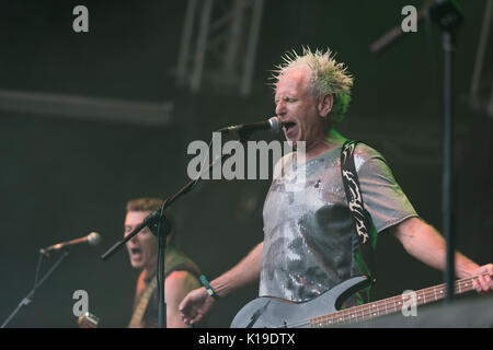 Belfast, Northern Ireland. 27/08/2017 - Belfast punk rock band 'The Outcasts' play at the Custom House Square music - Stock Photo