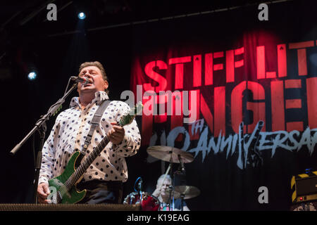 Belfast, Northern Ireland. 26/08/2017 - Northern Ireland punk band Stiff Little Fingers play Custom House festival. - Stock Photo