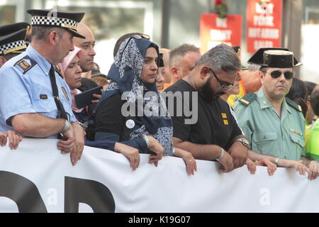 Barcelona, Spain. 26th August, 2017. during demonstration condemning the attacks that killed 15 people last week - Stock Photo