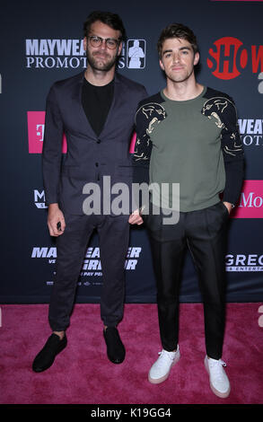 Las Vegas, NV, USA. 26th Aug, 2017.  The Chainsmokers. Mayweather vs McGregor pre-fight VIP Red Carpet at T-Mobile - Stock Photo