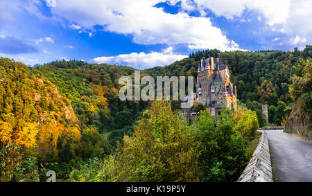 Burg Eltz castle - One of the most popular castles in Germany - Stock Photo