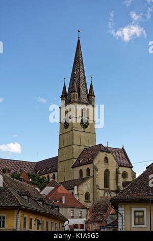 Evangelical Cathedral Sibiu Romania medieval architecture view from Cibin - Stock Photo