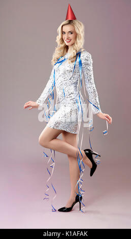 Woman fully prepared for the party - Stock Photo