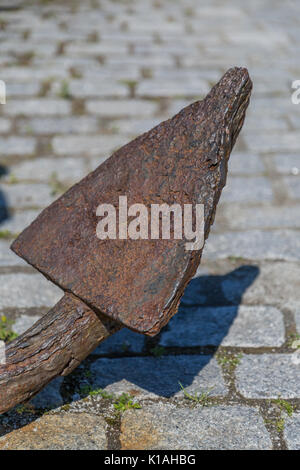 Close-up of rusted anchor - Stock Photo