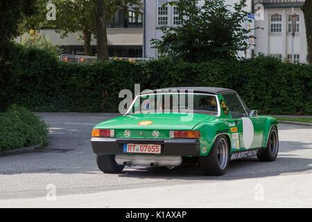 Reutlingen, Germany - August 20, 2017: Porsche 914 oldtimer car at the Reutlinger Oldtimertag event on August 20, - Stock Photo
