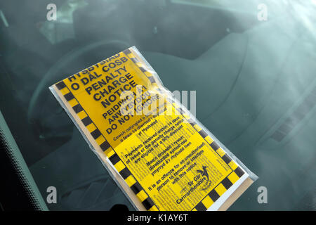 A bilingual Welsh English language penalty charge notice placed on the windscreen of a car in a carpark Carmarthenshire, - Stock Photo