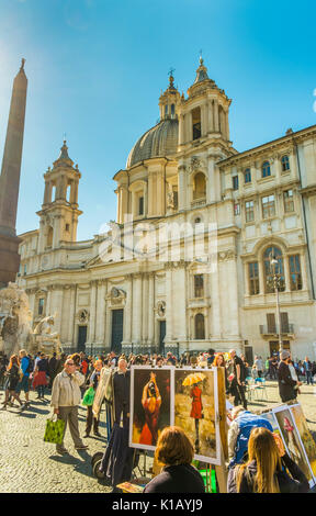 street scene at piazza navonna; paintings for sale with sant´agnese in agone church and fountain of the four rivers - Stock Photo