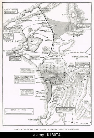 Sketch Plan of operations in Gallipoli, WW1 - Stock Photo