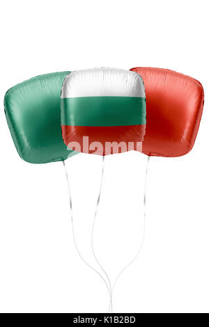 Three balloons represent Bulgaria flag colors are floating on a white surface with strings attached. 3D Rendering. - Stock Photo