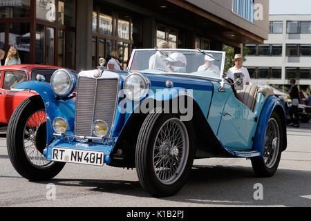 Reutlingen, Germany - August 20, 2017: MG oldtimer car at the Reutlinger Oldtimertag event on August 20, 2017 in - Stock Photo