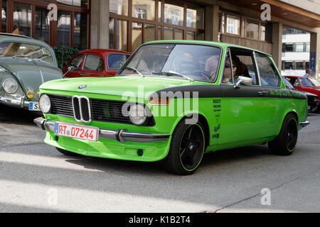 Reutlingen, Germany - August 20, 2017: BMW 1602 oldtimer car at the Reutlinger Oldtimertag event on August 20, 2017 - Stock Photo