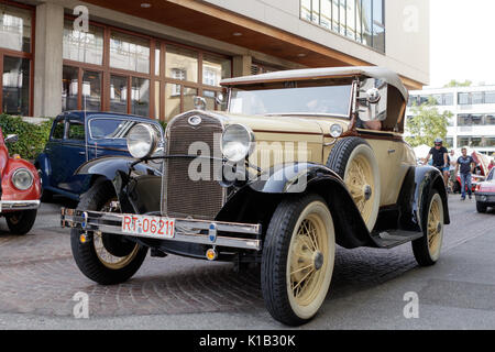 Reutlingen, Germany - August 20, 2017: Ford oldtimer car at the Reutlinger Oldtimertag event on August 20, 2017 - Stock Photo