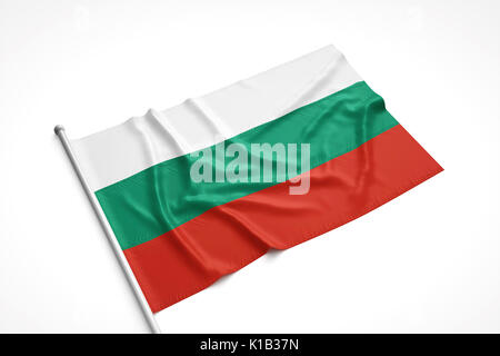 Bulgarian flag is laying on a white surface with flag pole attached. 3D Rendering. - Stock Photo