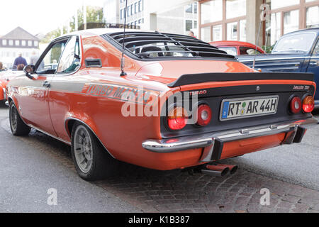 Reutlingen, Germany - August 20, 2017: Opel Manta SR oldtimer car at the Reutlinger Oldtimertag event on August - Stock Photo