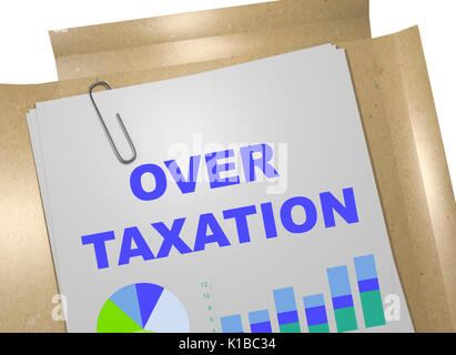 3D illustration of 'OVER TAXATION' title on business document. Business concept. - Stock Photo