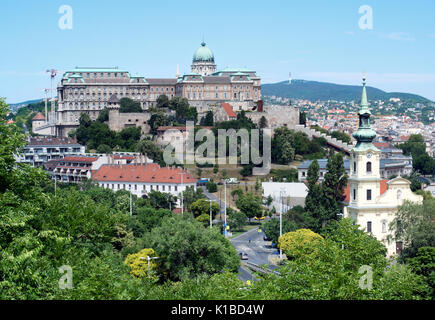 Buda Castle as seen from Gellert Hill, Budapest, Hungary - Stock Photo