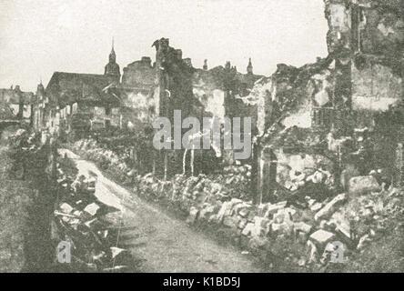 Principal residential street in Verdun, Battle of Verdun, 1916, WW1 - Stock Photo
