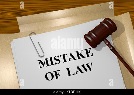 Render illustration of Mistake of Law title On Legal Documents - Stock Photo
