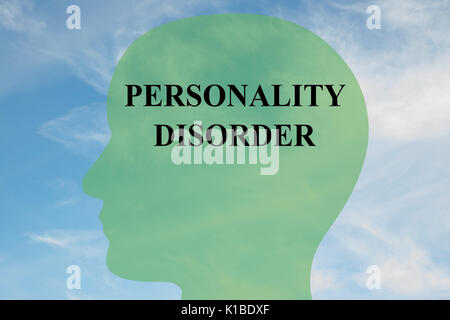 Render illustration of Personality Disorder Title on head silhouette, with cloudy sky as a background - Stock Photo